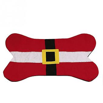 Christmas Dog Bone Design Pet Bed Sleep Sleep Mat Santa Belt Hund Pad, Rød