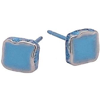 Ti2 Titanium Squashed 6mm kvadratiska örhängen Stud - Ljusblå