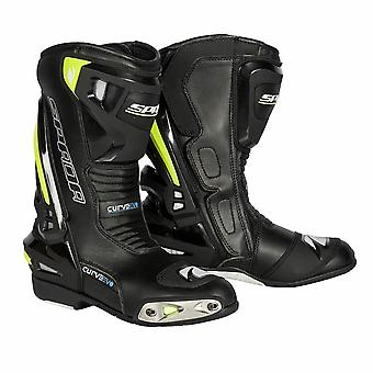 Spada Curve Evo WP Mens Motorcycle Boots Noir Fluoro Jaune