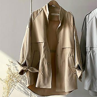 Demi-longueur Trench Coat Femmes Casual Stand Collar, Spring Clothes Slim Waist