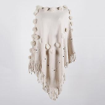 Hairball Cape Poncho Sweaters, Women Winter Knitted Tassel, Solid Capes Shawl,