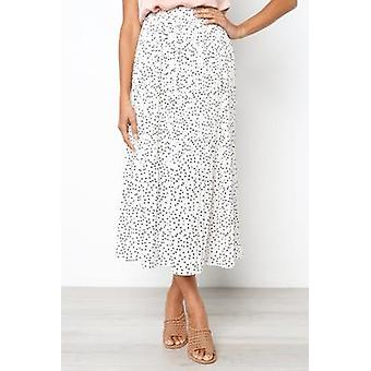White Dots Floral Print Pleated Women Elastic High Waist Side Pockets Midi