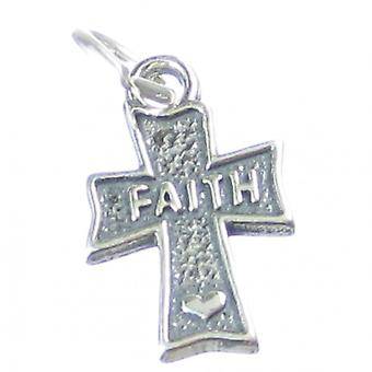 Faith On Cross Sterling Silver Charm .925 X 1 Crosses Charms Pendants - 4025