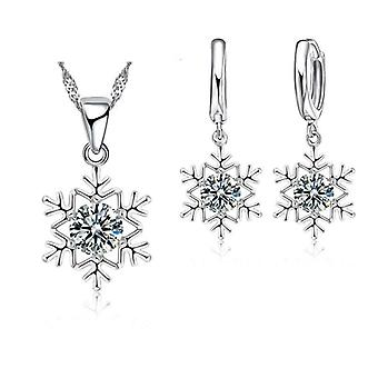 Snowflake Sterling Silver Jewelry Set, Zircon Cz Crystal Pendant Necklace