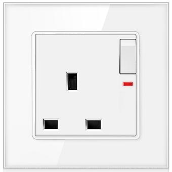 Uk Standard Wall Switched Socket 13a, Glass Panel Power Socket With Led