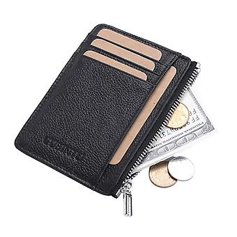 Leather Wallet Ultra-thin Front Pocket Wallet 8 Credit Card Case
