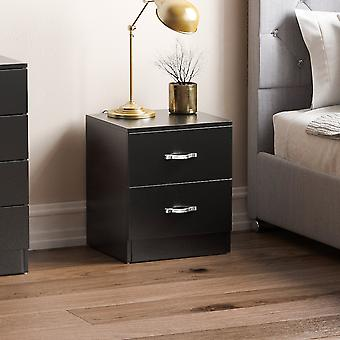 Riano 2 Drawer Bedside Chest Cabinet, Black