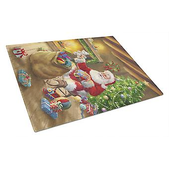 Caroline'S Treasures Christmas Santa Claus Unloading Toys Glass Cutting Board, Large, Multicolor