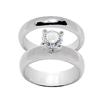 High Prong Set Round Solitaire Wedding Set Rings