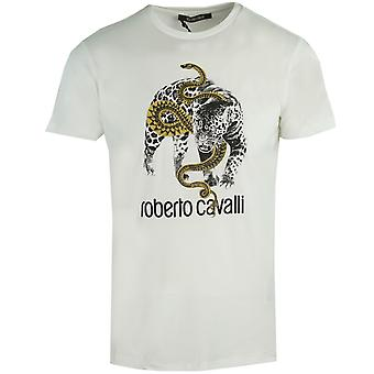 Roberto Cavalli Captured Logo White T-Shirt