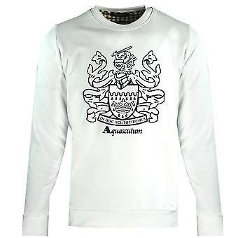 Aquascutum Large Crest Crew Neck White Sweatshirt