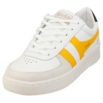 Gola Grandslam Classic Womens Fashion Trainers in Wit Geel