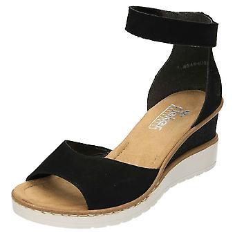 Rieker Ankle Strap Wedge Sandals Black Leather V3550-00