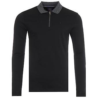 Luke 1977 Jacquard Collar Zip Long Sleeve Polo Shirt - Black