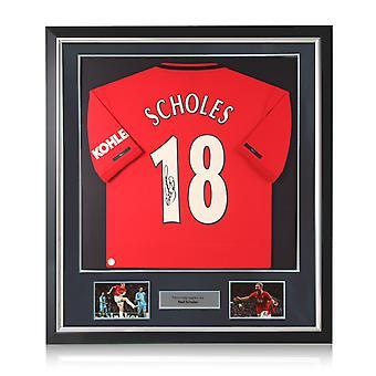 Paul Scholes firmó la camiseta del Manchester United. Marco de lujo