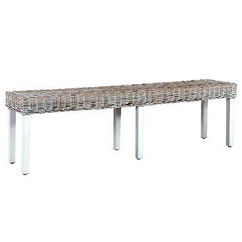 vidaXL bench 160 cm White natural Kubu rattan and solid wood mango