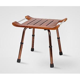 Solid Teak Wood Stool Bench With Aluminum Alloy Legs