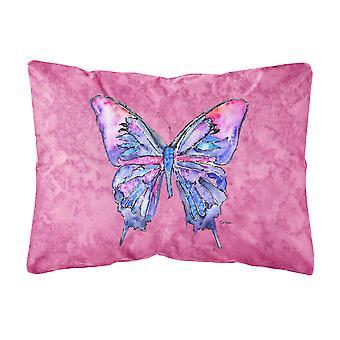 Caroline's Treasures 8859Pw1216 Farfalla su cuscino decorativo in tessuto di tela rosa, grande, multicolore