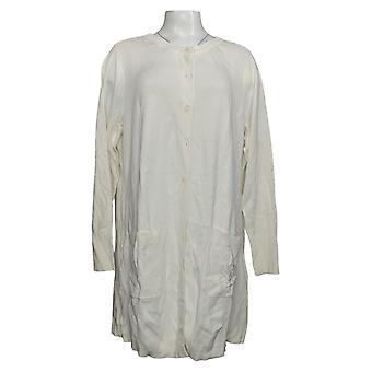 Isaac Mizrahi Live! Vrouwen plus lange knoop voor vest wit A375675