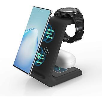 FengChun Induktive Ladestation, 3 in 1 Wireless Charger 10W Qi Ladestation Kompatibel mit Samsung