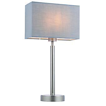 Lámpara de mesa placa de níquel mate, tela gris de sombra rectangular con toma usb