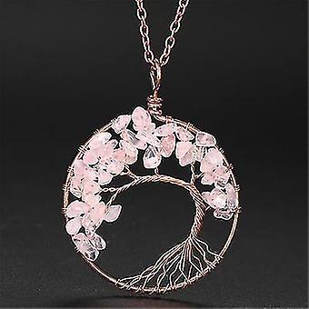 Tree Of Life Pendant Amethyst Rose Crystal Necklace Gemstone Chakra Jewelry(Pink)