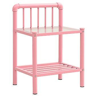 vidaXL Stolik nocny Różowy Przezroczysty 45x34,5x62,5 cm Metal i szkło