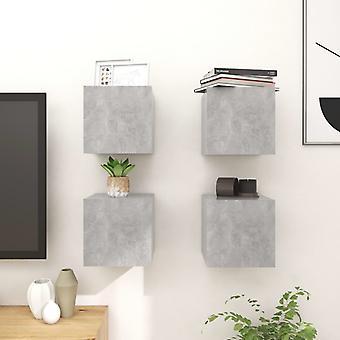 vidaXL TV seinäkaapit 4 kpl betoni harmaa 30,5x30x30 cm