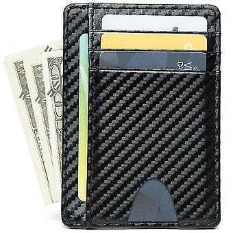 Ultra-thin carbon fiber card holder business card holder wallet(Black)