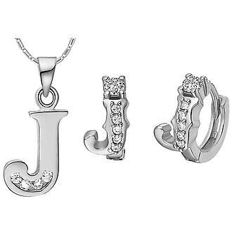 (J)  Alphabet Rhinestone Womens 26 Initial Letter Huggie Earrings Necklace Jewelry Set Silver
