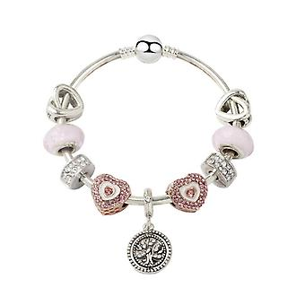 Creative Fashion Pink Life Tree Love Bracelet Glass Bead Bracelet