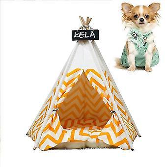 Carpa para mascotas removible y lavable perrera de gato de madera con cojín, Especificación: Medio
