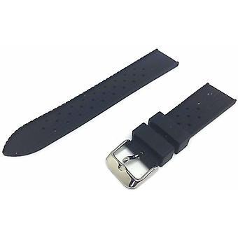 (18mm) Tropic horlogeband voor Rolex Black Rubber Divers Strap 18mm tot 24mm met roestvrij staal