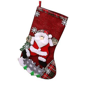 Linen Large Christmas Stocking Christmas Decoration Christmas Gift Bag Children Candy Bag 3