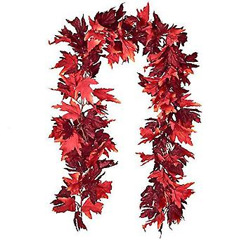 2 Pack Fall Garland Maple Leaf, 5.9ft/piece Hanging Vine Garland Artificial Autumn Foliage Garland Thanksgiving Decor For Home Wedding Fireplace Party