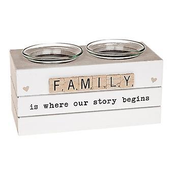 Scrabble Double Tealight Holder Family