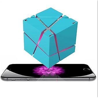 Bezdrátový přenosný Přehrávač Hi Fi, Led Square Cube Stereo Bluetooth reproduktory (modrá)