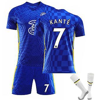Kante #7 Jersey Home 2021-2022 Új szezon férfi Chelsea F.c. Soccer póló Jersey Set