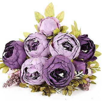 Peonia del cuore di budello in stile europeo, fiore artificiale, decorazione della stanza modello della casa nuziale, fiore di seta artificiale (fiore artificiale viola)