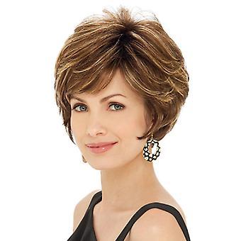 Pelucas de centro comercial de marca, pelucas de encaje, pelo corto esponjoso realista peluca de personalidad marrón pelo liso