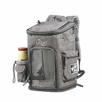 Pet Cat And Dog Travel Breathable Foldable Backpack M Size (light Gray)