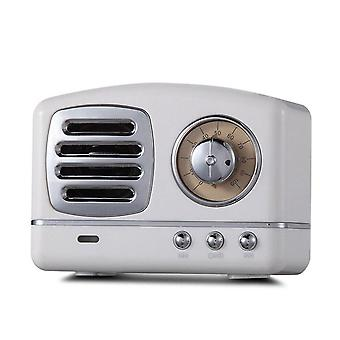 Hifi Mini Retro Trådløs Bluetooth Høyttaler Bærbar Fm Radio TF Kort U Disk 3,5mm Lydhøyttaler Med Mikrofon Hvit Farge