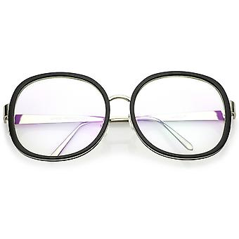 Women's Oversize Metal Arms Nose Birdge Clear Lens Round Eyeglasses 61mm