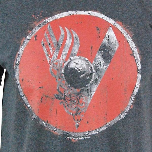Vikings Mens Vikings Shield Logo Dark Grey T Shirt