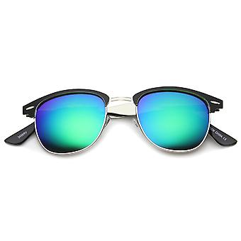 Mens Metal Semi-Rimless Sunglasses With UV400 Protected Mirrored Lens