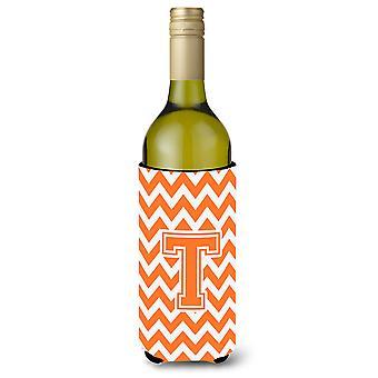 Lettre T Chevron Orange et blanc bouteille de vin boisson isolateur Hugger