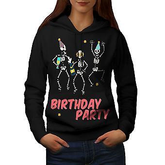 Happy Skeleton Women BlackHoodie | Wellcoda