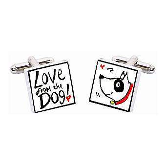 Amor do cão com coleira vermelha abotoaduras por Sonia Spencer, na apresentação de caixa de presente. Pintados à mão