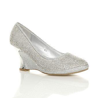 Ajvani kvinners midt hæl kile plattform diamante kvelden Bryllupsutstyr wedding prom retten sko pumper