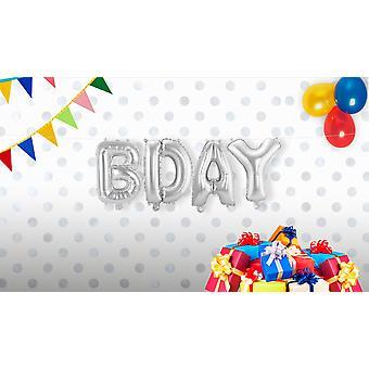 4er Folienballon Set B-DAY Buchstaben Girlande silber circa 36cm hoch